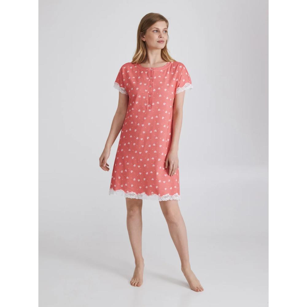 Женская ночная рубашка хлопок Ellen LDK 120/11/01 коралловый