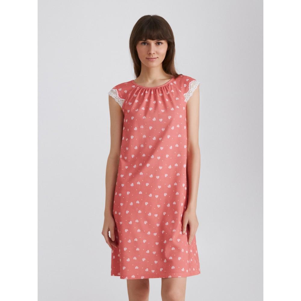 Женская ночная рубашка хлопок Ellen LDK 122/02/01 коралловый