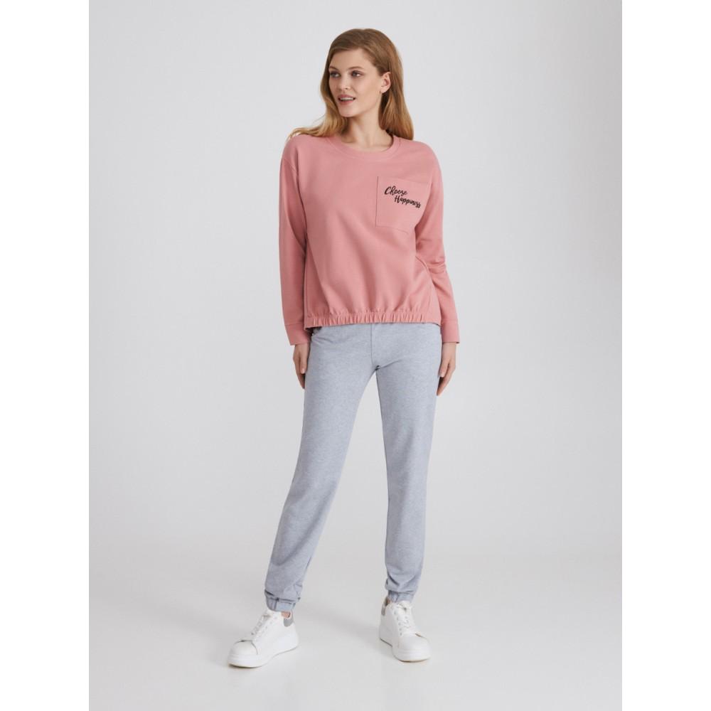 Женская пижама брюки хлопок Ellen LPD 0781/04/02 розово-серый