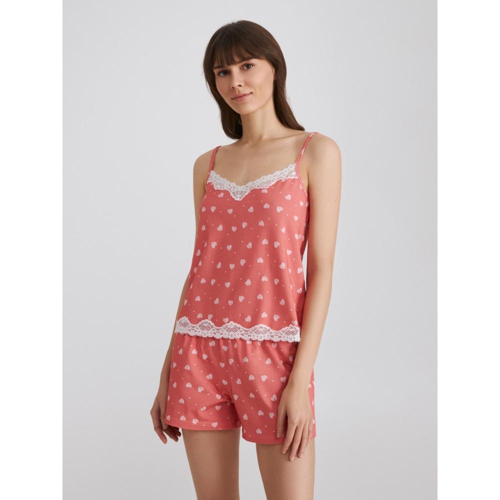 Женская пижама шорты Ellen LPK 4070/02/01 коралловый