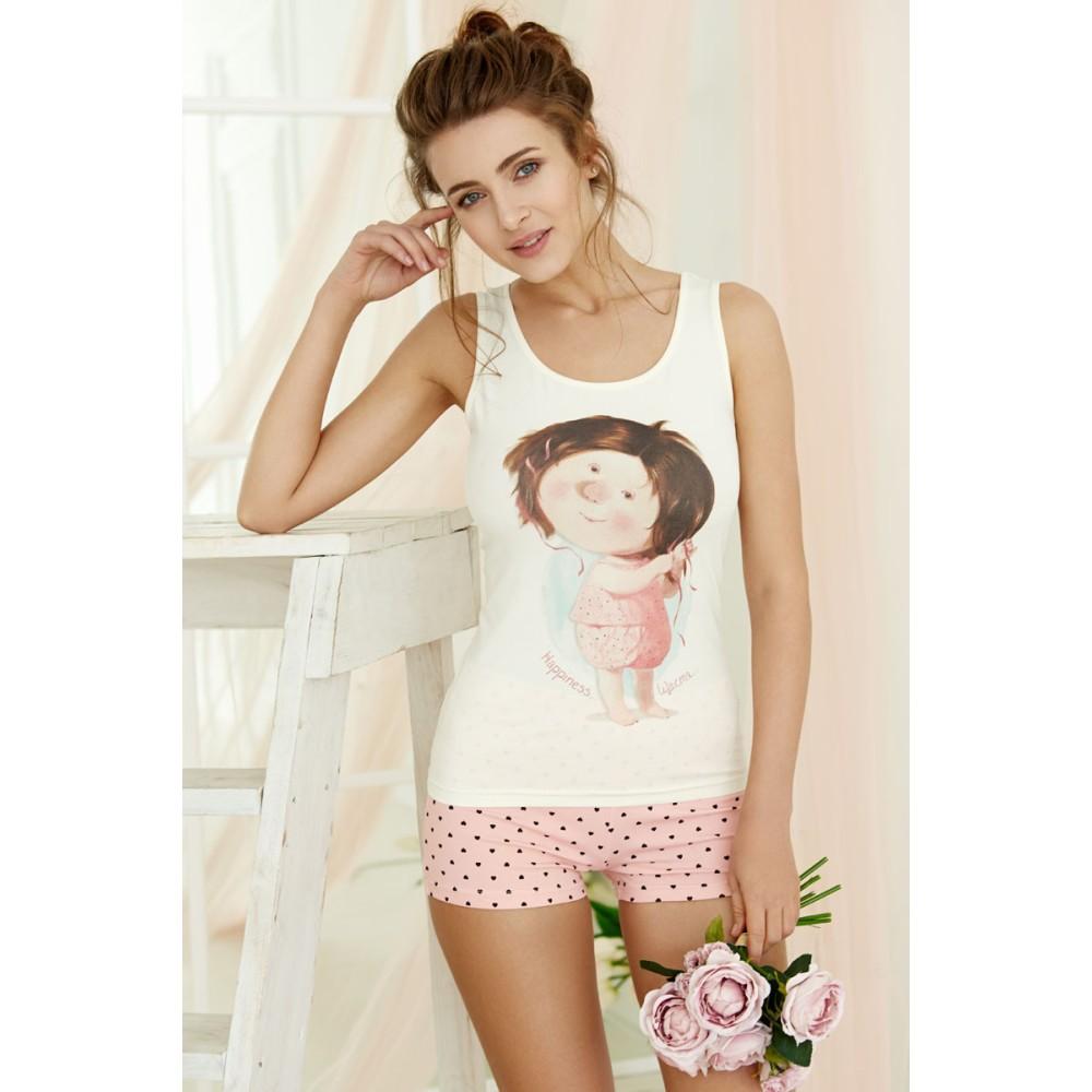 Женская пижама хлопок Anabel Arto 6213-5G розовый