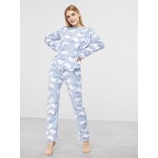 Женская пижама брюки флис Atlantic NLP-458 голубой