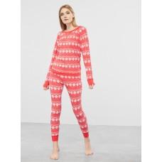 Женская пижама брюки хлопок Atlantic NLP-459 красный