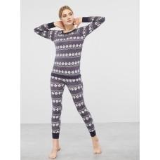 Женская пижама брюки хлопок Atlantic NLP-459 темно-синий