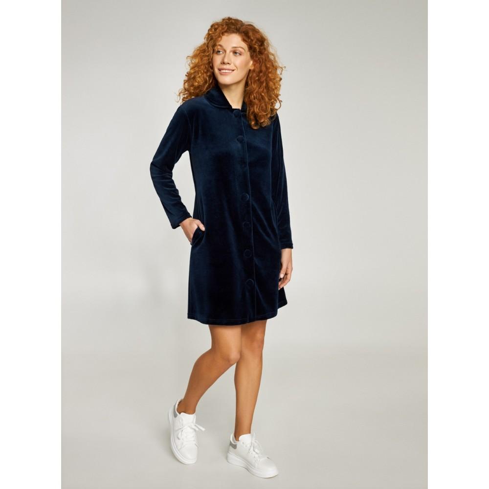 Женский велюровый халат  Ellen LDG 118/001 темно-синий