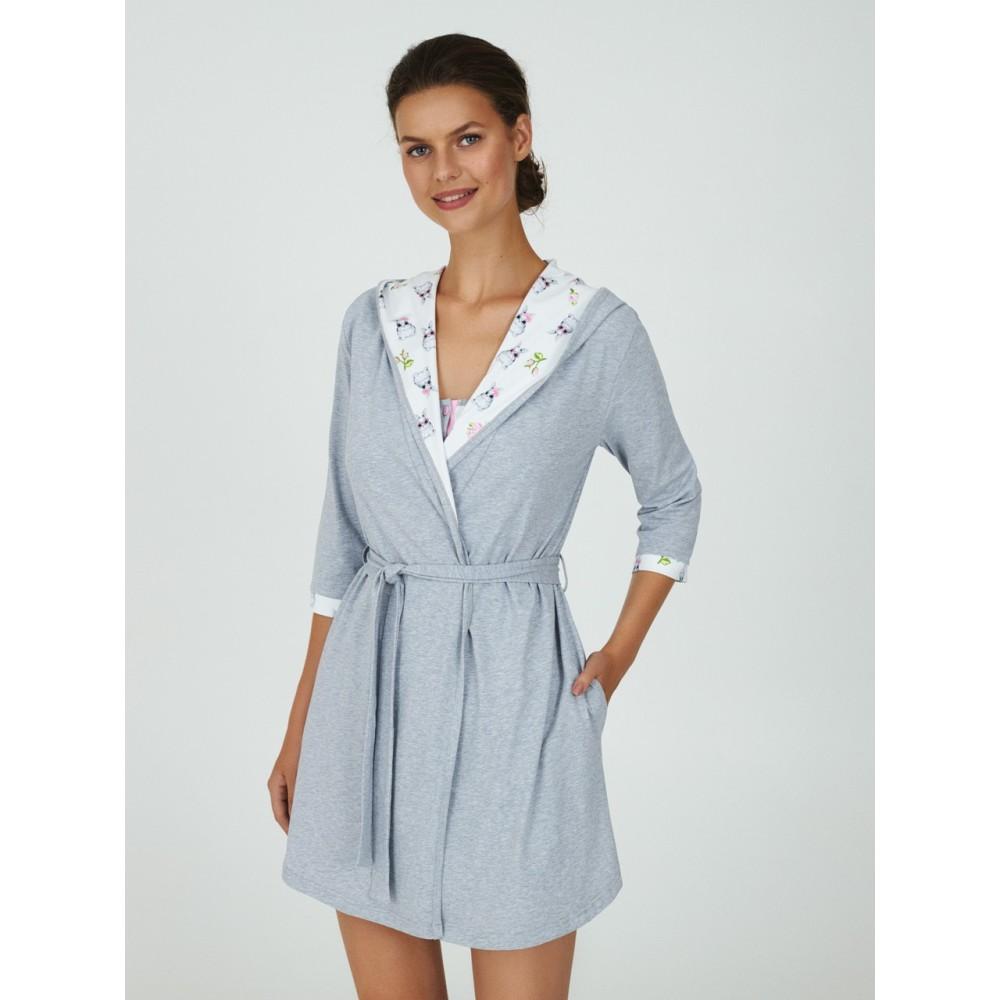 Женский халат хлопок Ellen LGK 202/01/01 светло-серый