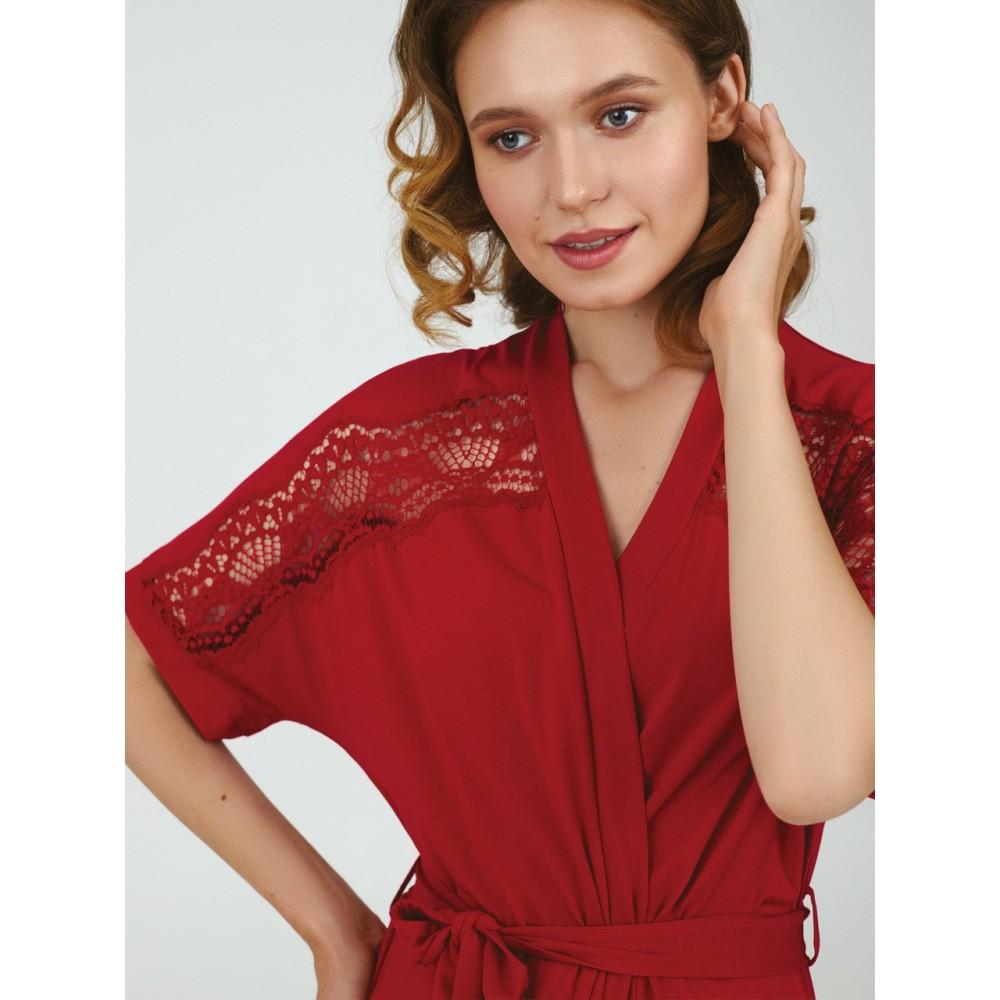 Женский халат хлопок Ellen LGM 211/04/01 красный