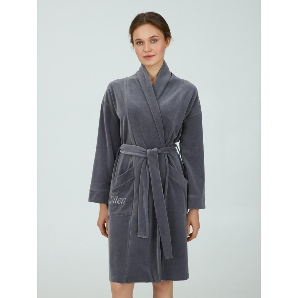Женский велюровый  халат Ellen LGV 207/00/01 серый