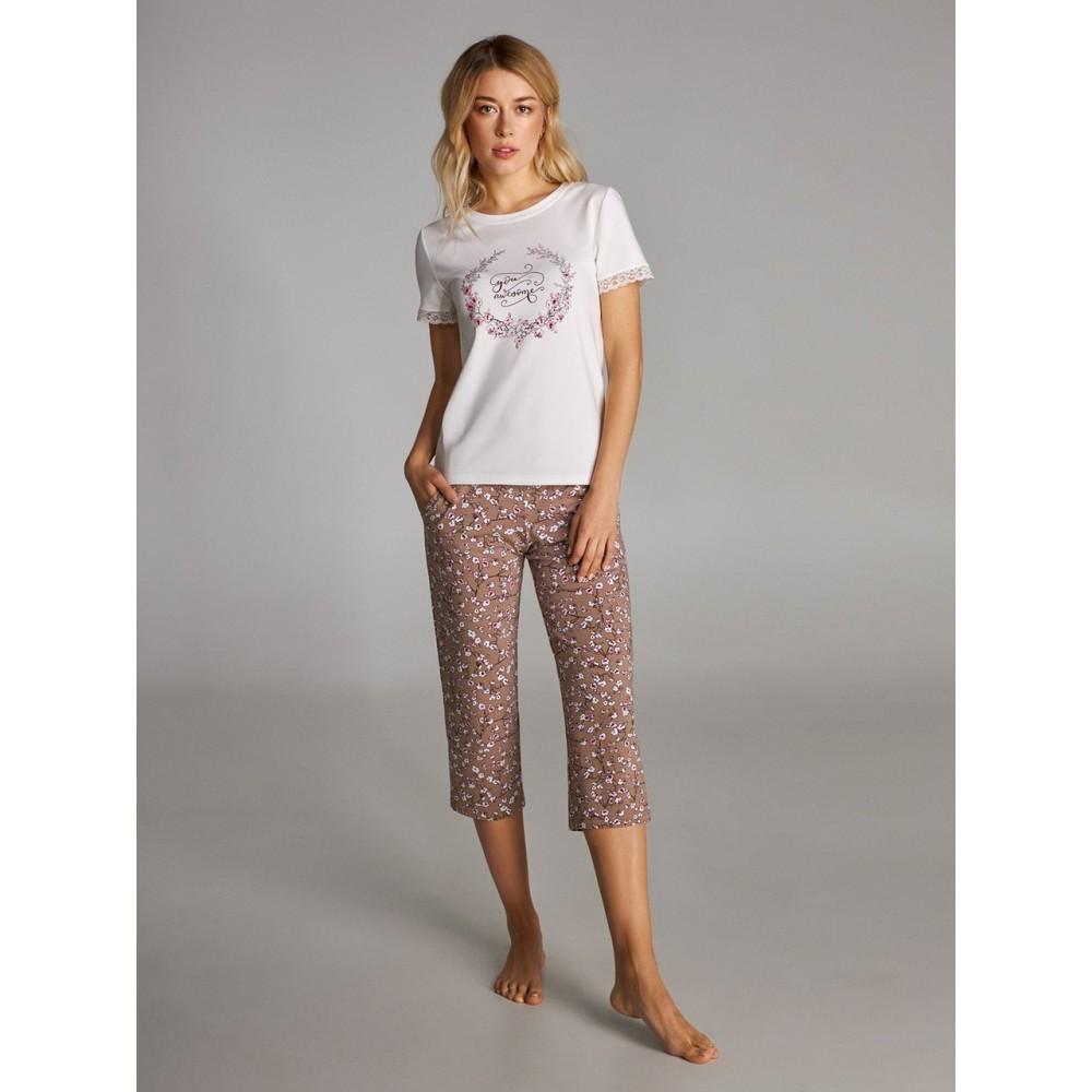 Женская пижама бриджи хлопок Ellen LNP 301/001 кофейный