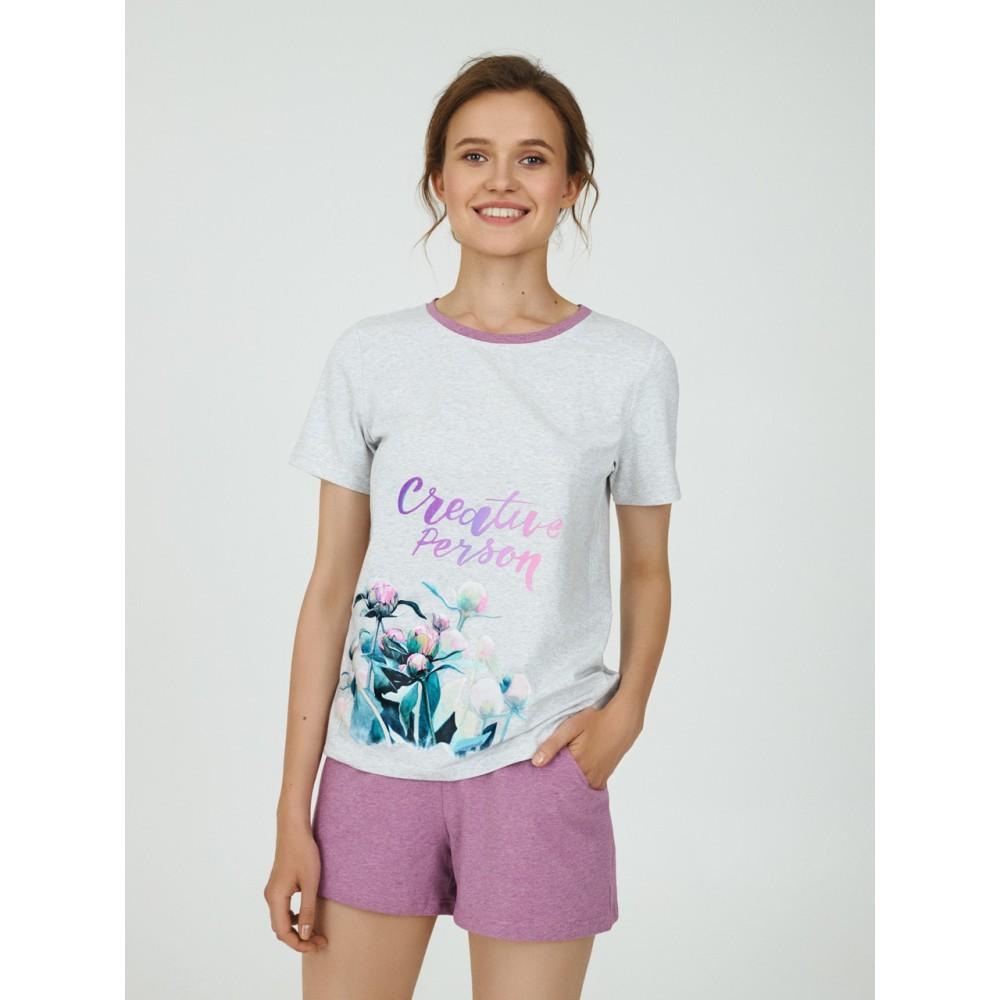 Пижама женская Ellen LPK 2070/03/01 серо-розовый