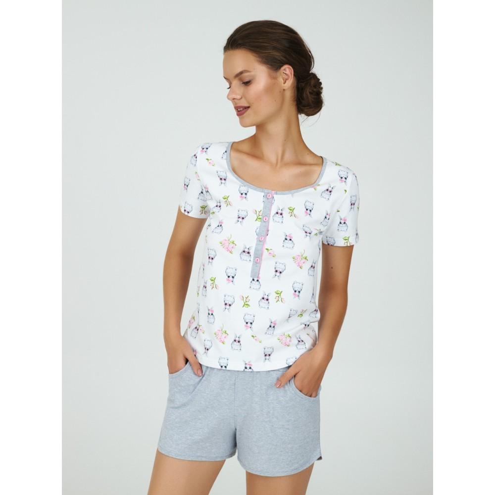 Пижама женская Ellen LPK 2170/01/01 бело-серый