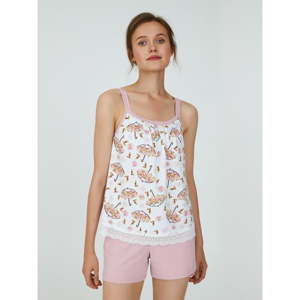 Женская пижама шорты хлопок Ellen LPK 4170/01/01 бело-розовый