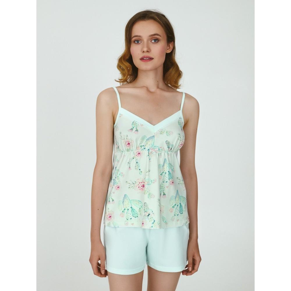 Женская пижама шорты хлопок Ellen LPK 4270/01/01 мятный