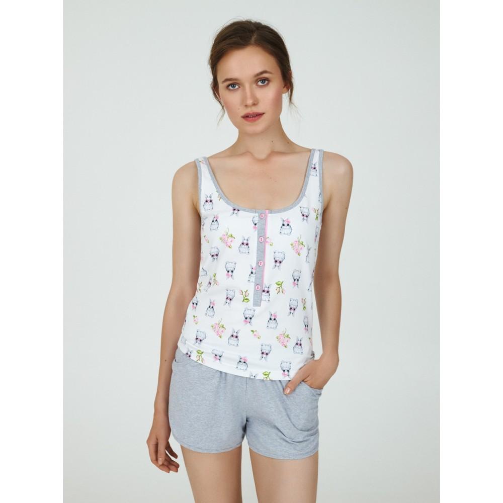 Пижама женская ТМ Ellen LPK 4570/01/01 бело-серый