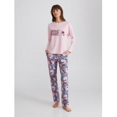 Женская пижама брюки хлопок Ellen LPK 0880/01/01 розовый