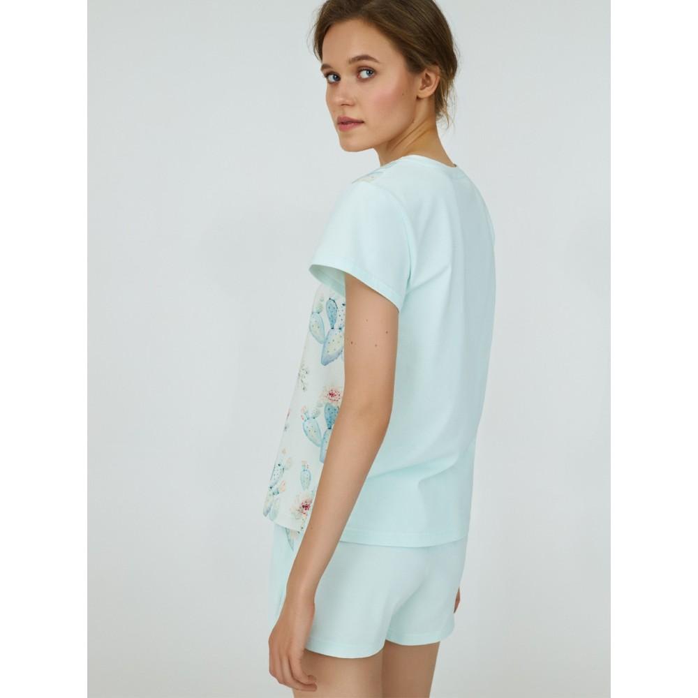 Женская пижама шорты хлопок Ellen LPK 2070/01/01 мятный