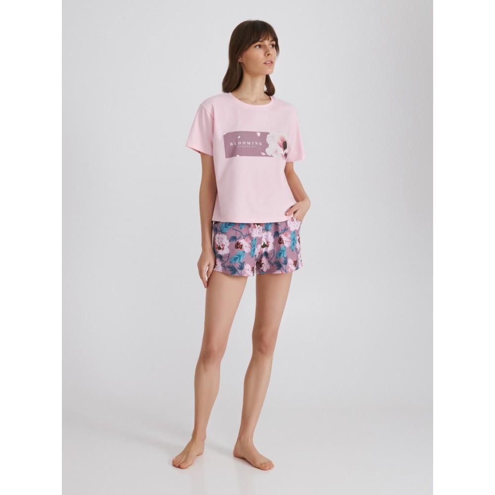 Женская пижама шорты хлопок Ellen LPK 2970/01/01 розовый