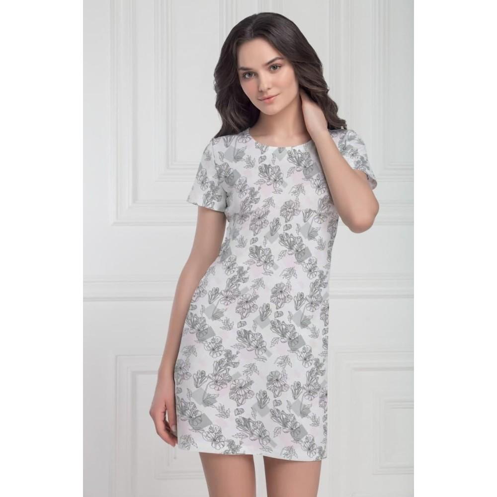 Женская ночная рубашка хлопок Jasmine Camelia 4511/97 бело-серая