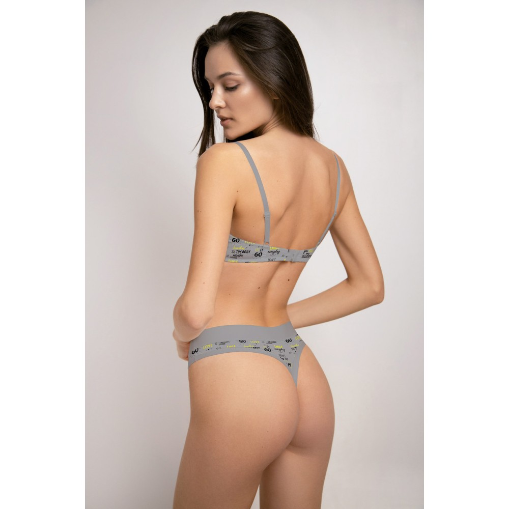 Женские трусы стринги хлопок Jasmine Anika 5113/41 серый