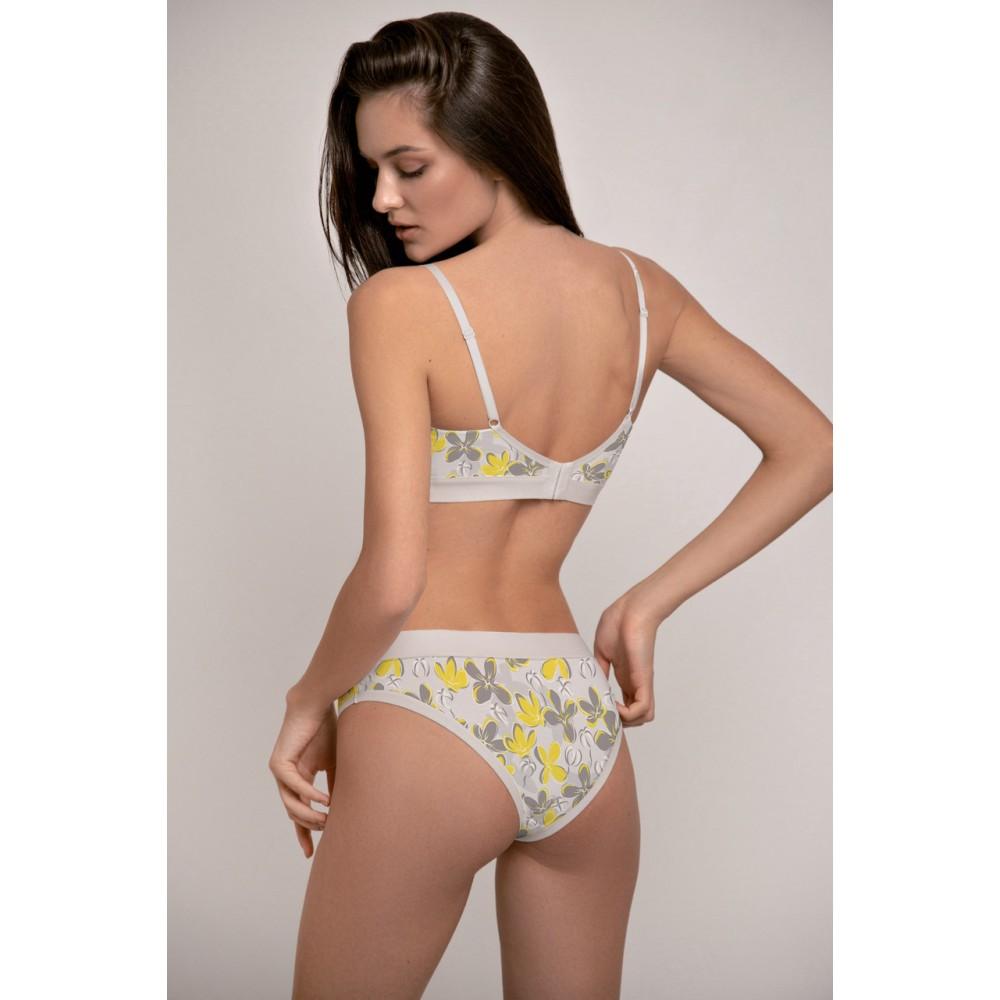 Женские трусы мини бикини хлопок Jasmine Marine 5214/40 серо-желтый
