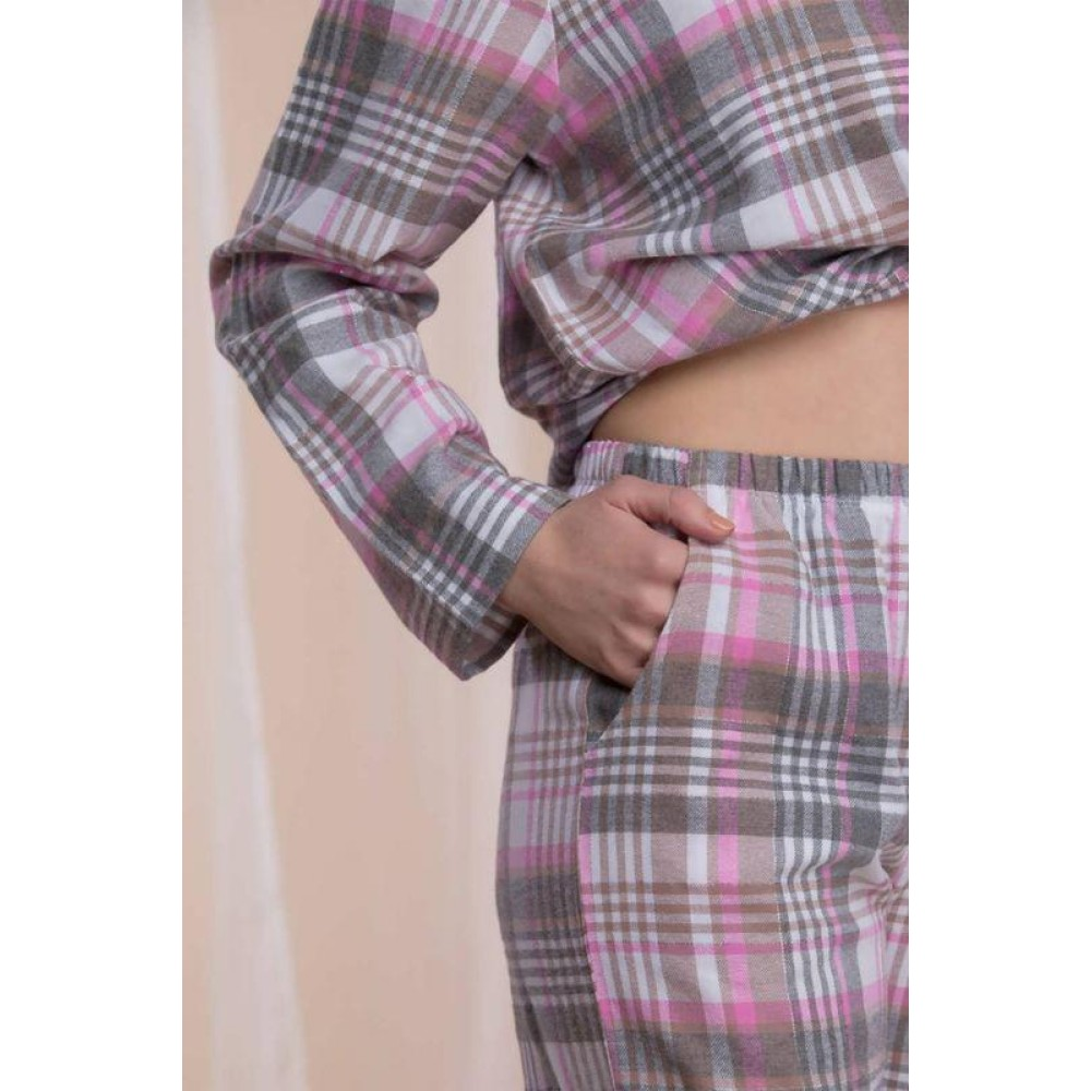Женская пижама брюки фланель Key LNS 423 серый