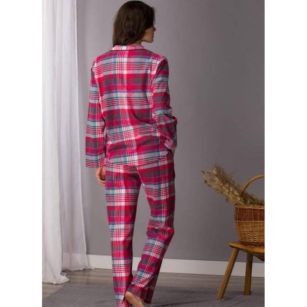 Женская пижама брюки фланель Key LNS 435 красный