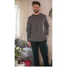 Мужская пижама брюки хлопок Key MNS 380 темно-зеленый
