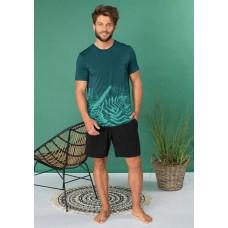 Мужская пижама шорты бамбук Key MNS 826 бирюзовый