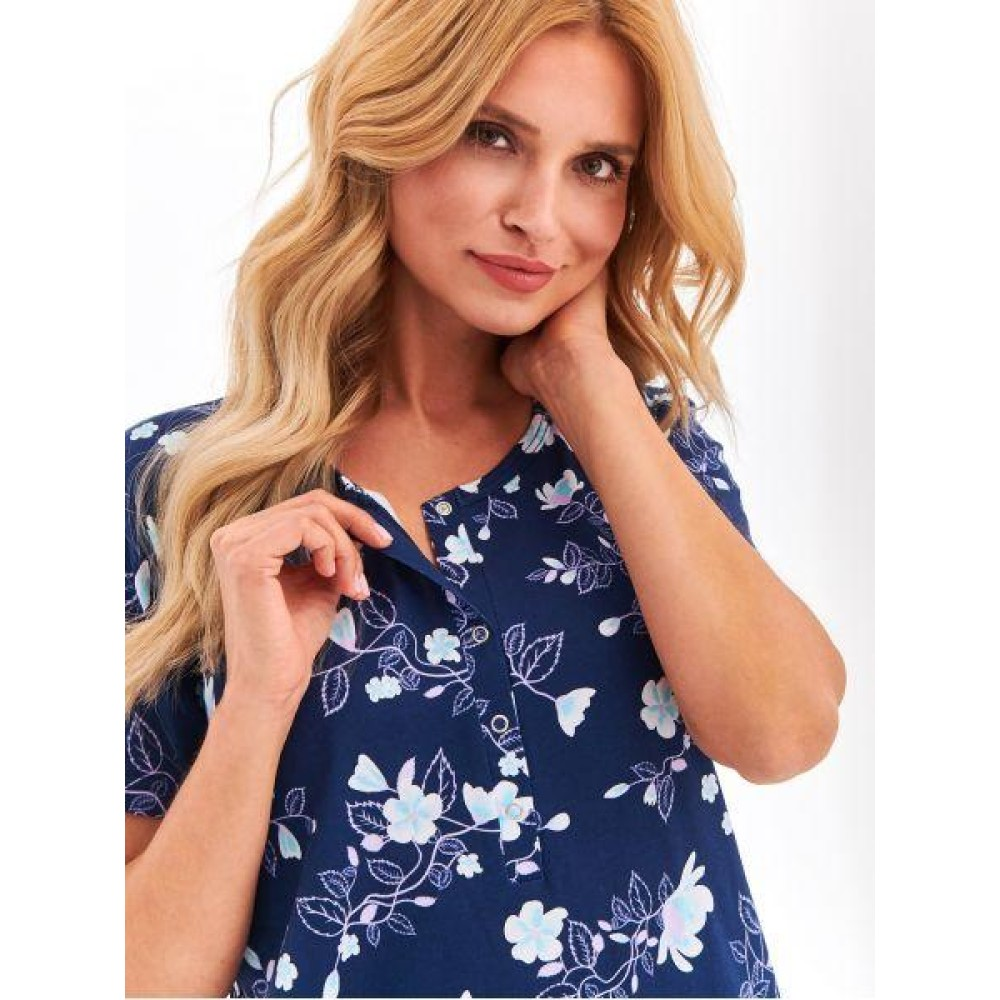 Ночная рубашка хлопок Taro Rosa 2368 темно-синий