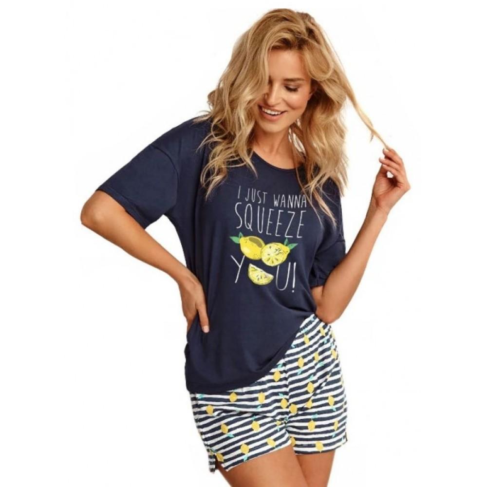 Женская пижама шорты хлопок Taro Lemon 2495 темно-синий