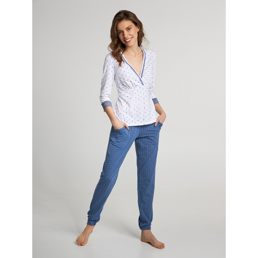 Женская пижама брюки хлопок Ellen LNP 262/001 голубой