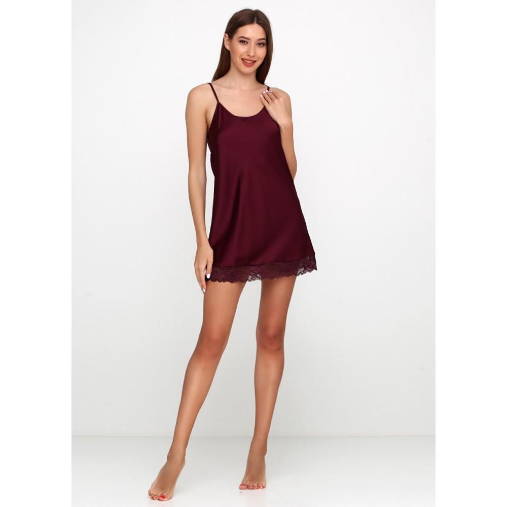 Женская ночная рубашка шелк-сатин Julia 5018-8 винно-красный