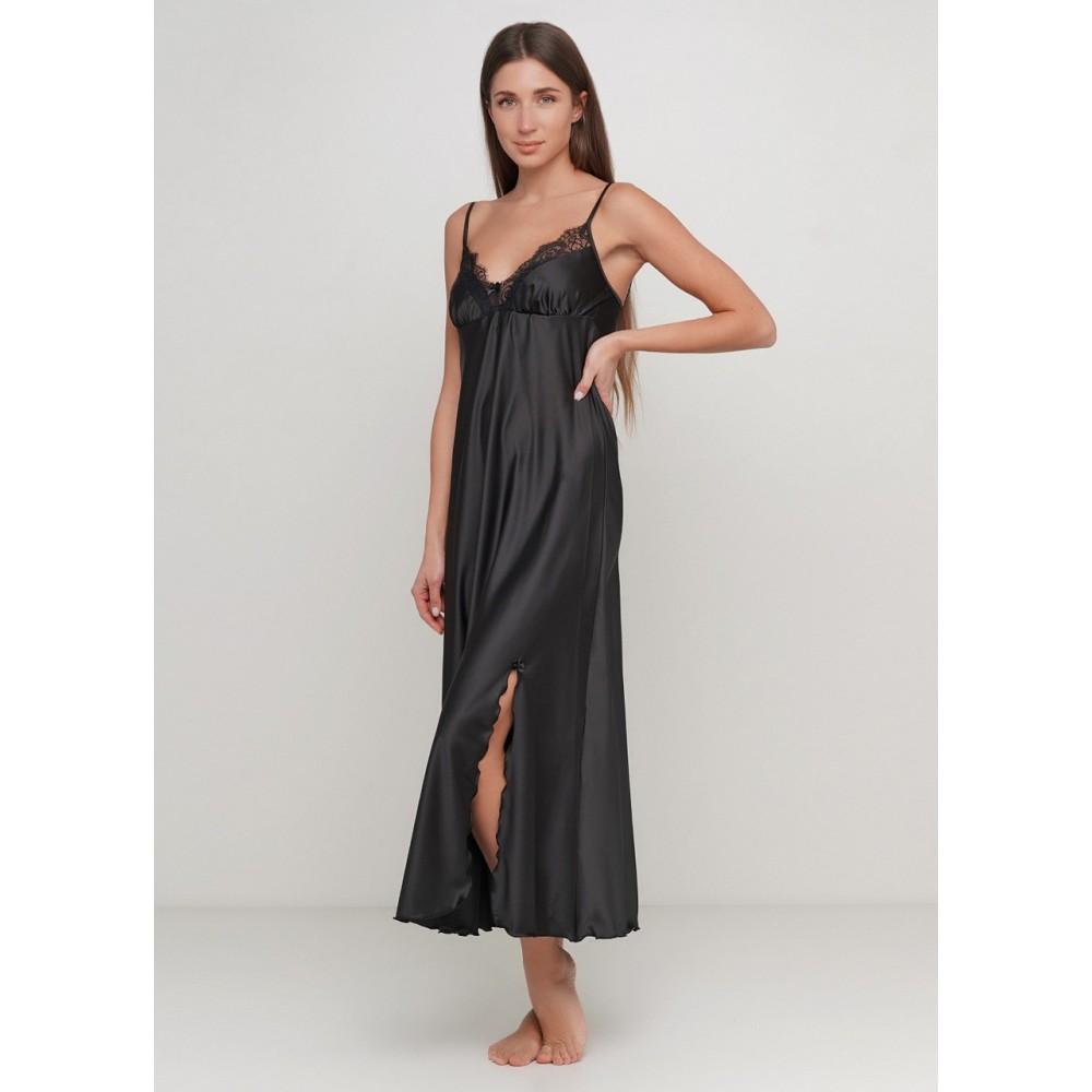 Женская ночная рубашка шелк-сатин Julia 6020-9 черный