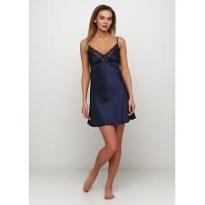 Женская ночная рубашка шелк-сатин Julia 3040-16 синий
