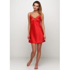 Женская ночная рубашка шелк-сатин Julia 3040-15 красный