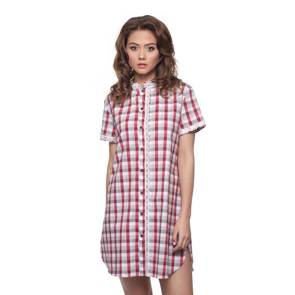 Женская ночная рубашка ситец Ellen LND 165/001 красный